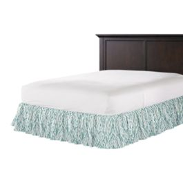 Aqua Blue Watercolor Ruffle Bed Skirt