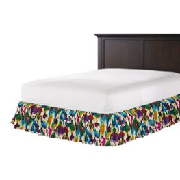 Multicolor Watercolor Ruffle Bed Skirt