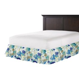 Aqua & Blue Watercolor Ruffle Bed Skirt