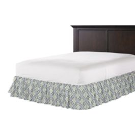Blue Diamond Block Print Ruffle Bed Skirt
