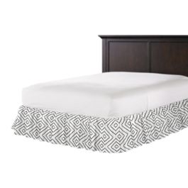 White & Gray Diamond Ruffle Bed Skirt