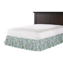 Modern Aqua Floral Ruffle Bed Skirt
