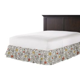 Modern Gray Floral Ruffle Bed Skirt