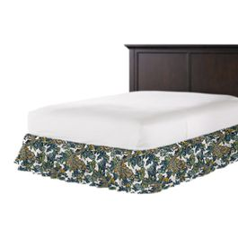 Aqua Chinoiserie Dragon Ruffle Bed Skirt