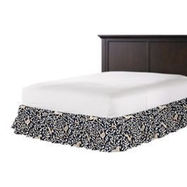 Navy Blue Animal Motif Ruffle Bed Skirt