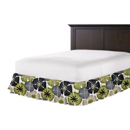 Modern Gray & Green Floral Ruffle Bed Skirt