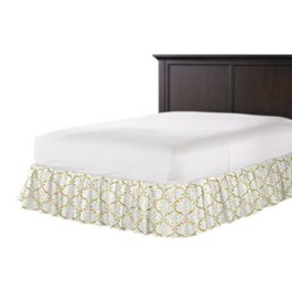 Embroidered Light Yellow Chain Ruffle Bed Skirt