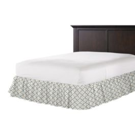 Embroidered Blue Scallop Ruffle Bed Skirt