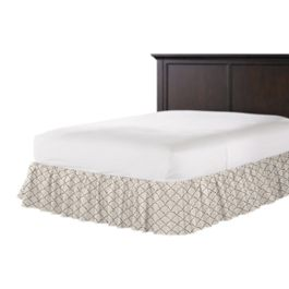 Embroidered Taupe Scallop Ruffle Bed Skirt