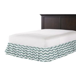White & Blue Chevron Ruffle Bed Skirt