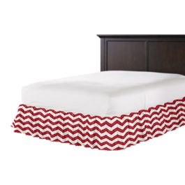 White & Red Chevron Ruffle Bed Skirt