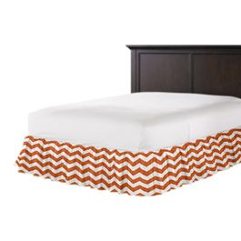 White & Orange Chevron Ruffle Bed Skirt
