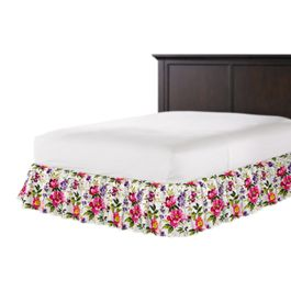 Chintz-like Pink Floral Ruffle Bed Skirt