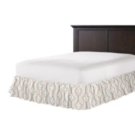 Embroidered Gold Trellis Ruffle Bed Skirt