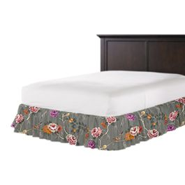 Painterly Pink & Gray Floral Ruffle Bed Skirt