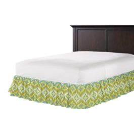 Aqua & Green Flame Stitch Ruffle Bed Skirt