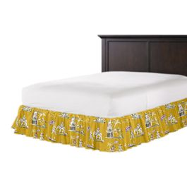 Purple & Yellow Chinoiserie Ruffle Bed Skirt