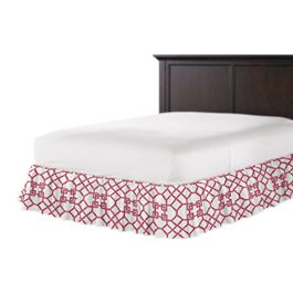 Asian Pink Trellis Ruffle Bed Skirt