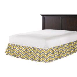Gray & Yellow Chevron Ruffle Bed Skirt