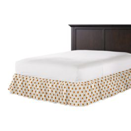 Beige & Orange Hexagon Ruffle Bed Skirt