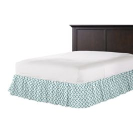 Aqua Blue Block Print Ruffle Bed Skirt
