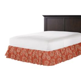 Coral Red Fan Leaf Ruffle Bed Skirt