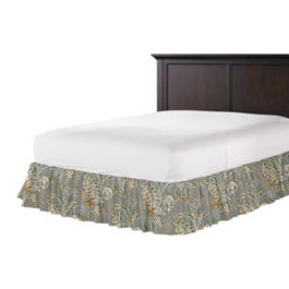 Intricate Gray Floral Ruffle Bed Skirt