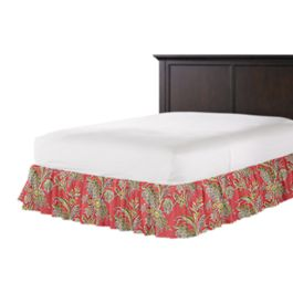 Intricate Pink Floral Ruffle Bed Skirt