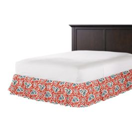 Blue & Pink Coral Leaf Ruffle Bed Skirt
