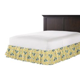 Yellow & Green Leaf Ruffle Bed Skirt