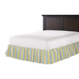 Teal & Yellow Stripe Ruffle Bed Skirt