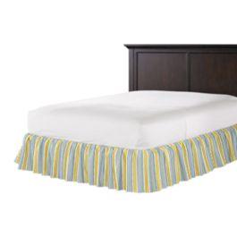 Teal & Yellow Stripe Ruffle Bed Skirt