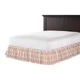 Scrolled Pink Trellis Ruffle Bed Skirt