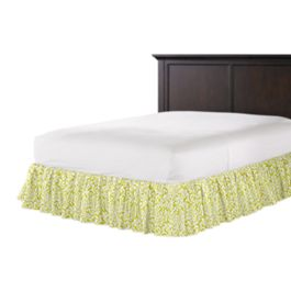 Lemon Yellow Brocade Ruffle Bed Skirt