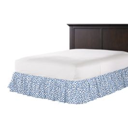 Blue Leopard Print Ruffle Bed Skirt