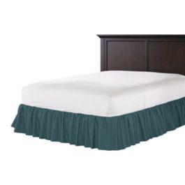 Dark Teal Velvet Ruffle Bed Skirt