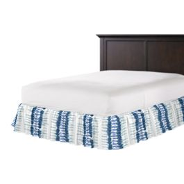 Aqua Blue Shibori Stripe Ruffle Bed Skirt