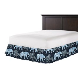 Navy Blue Elephant Ruffle Bed Skirt