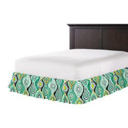 Lime Green & Yellow Abstract Ruffle Bed Skirt
