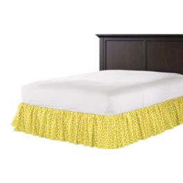 Yellow Leopard Print Ruffle Bed Skirt