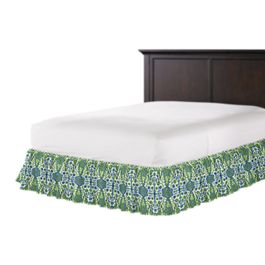 Green & Blue Ikat Ruffle Bed Skirt