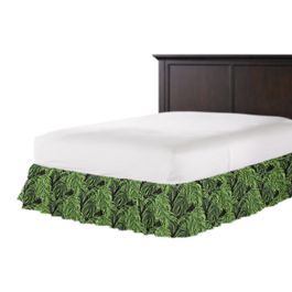 Green & Black Palm Leaf Ruffle Bed Skirt
