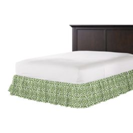 Green Watercolor Trellis Ruffle Bed Skirt