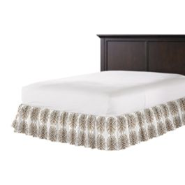 White & Tan Spiky Oval Ruffle Bed Skirt
