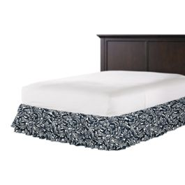 Modern Navy Blue Floral Ruffle Bed Skirt