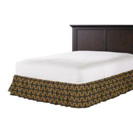 Gray & Metallic Copper Fan Ruffle Bed Skirt