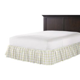Lemon Yellow Check Ruffle Bed Skirt