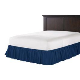 Dark Navy Blue Linen Ruffle Bed Skirt