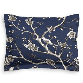 Navy Blue Floral & Bird Sham