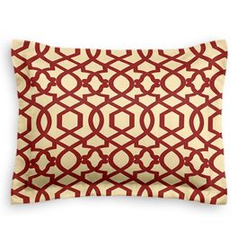 Flocked Tan & Red Trellis Sham